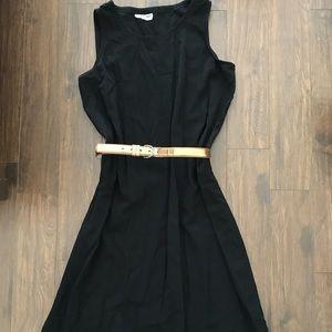Black Ankle Length Oversize Dress with Gold Belt